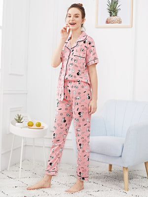 Dog Print Button Up Pajama Set