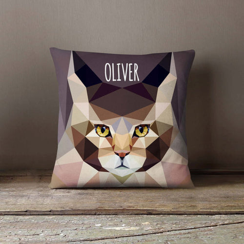 Geometric Maine Coon Cat Pillowcase (Personalize)