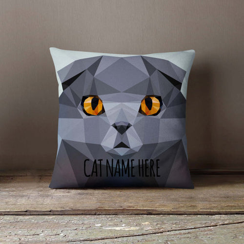 Geometric Scottish Fold Cat Throw Pillowcase (Personalize)