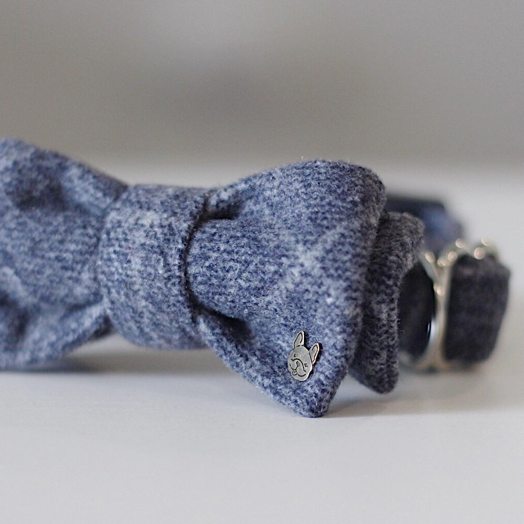 Ocean Blue Plaid Barkholic Double Bow Tie Premium 100% Organic Cotton Dog Collar