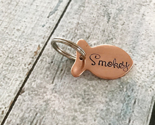 Custom Hand Stamped Cat ID Tag