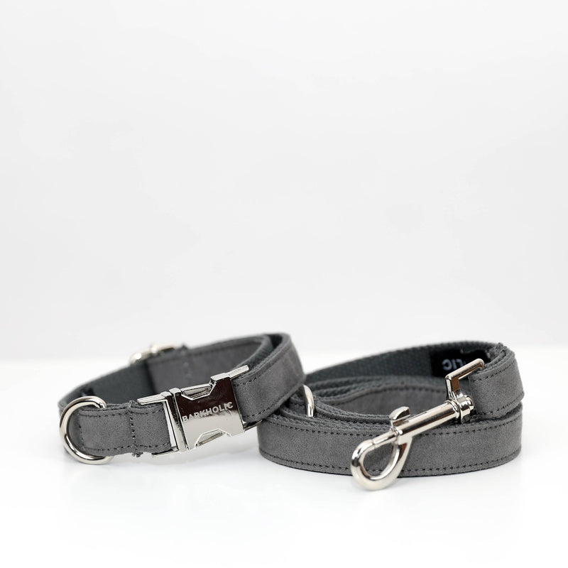 Grey Barkholic Designer Dog Collar & Leash Set