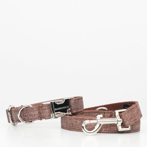 Toffee Brown Tweed Barkholic Premium Designer Silver Hardware Matching Dog Collar & Leash Set