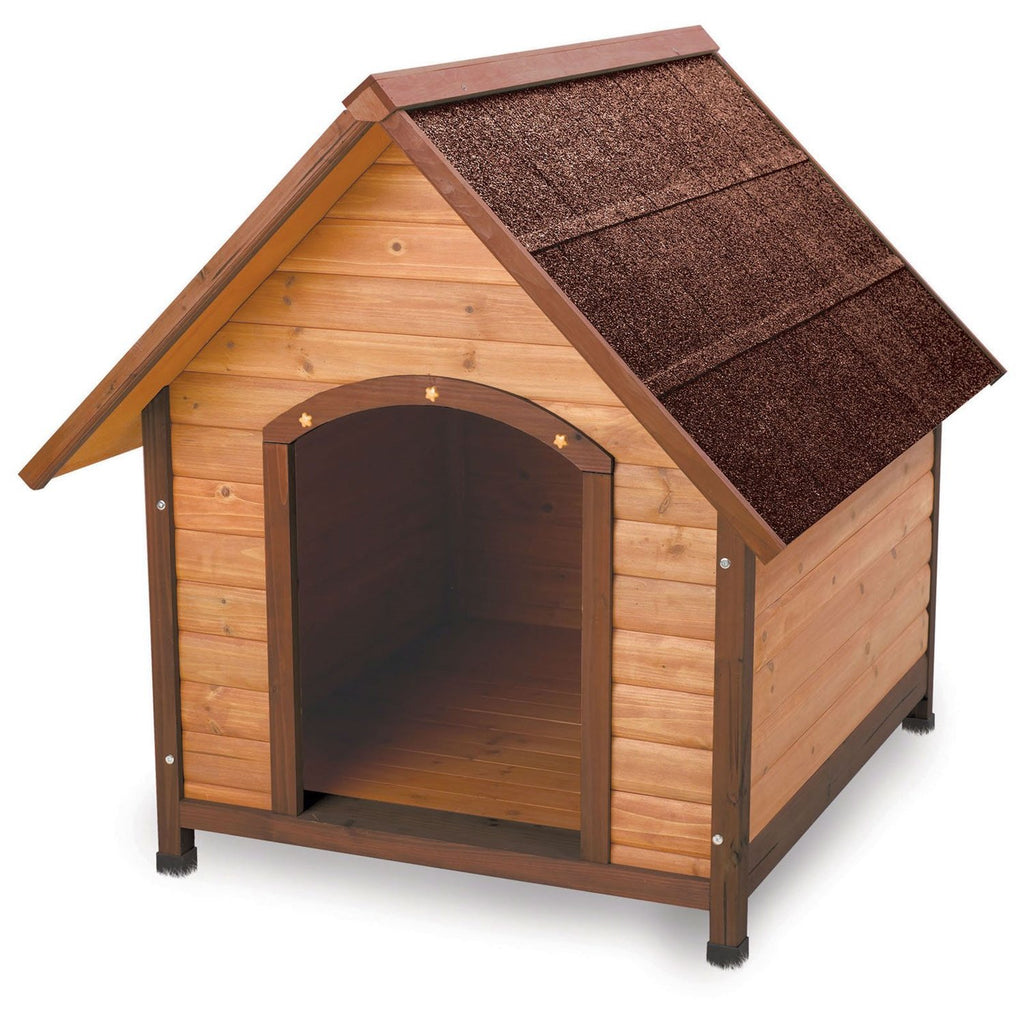 Medium 30-inch Easy Assemble Solid-Fir Wood A-Frame Dog House with Waterproof Shingle Roof