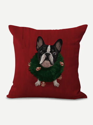 Holiday Frenchie Pillow Cover