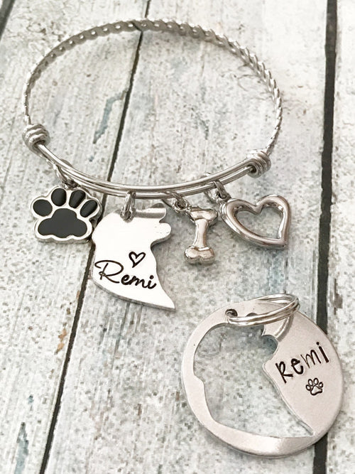 Hand Stamped Dog Tag w/ Matching Bracelet Set (Personalize)