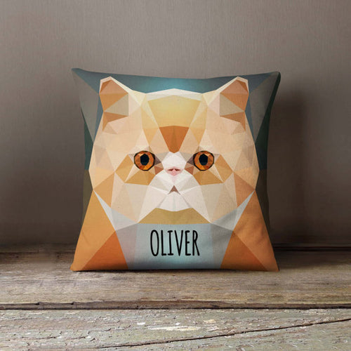 Personalized Geometric Persian Cat Throw Pillowcase