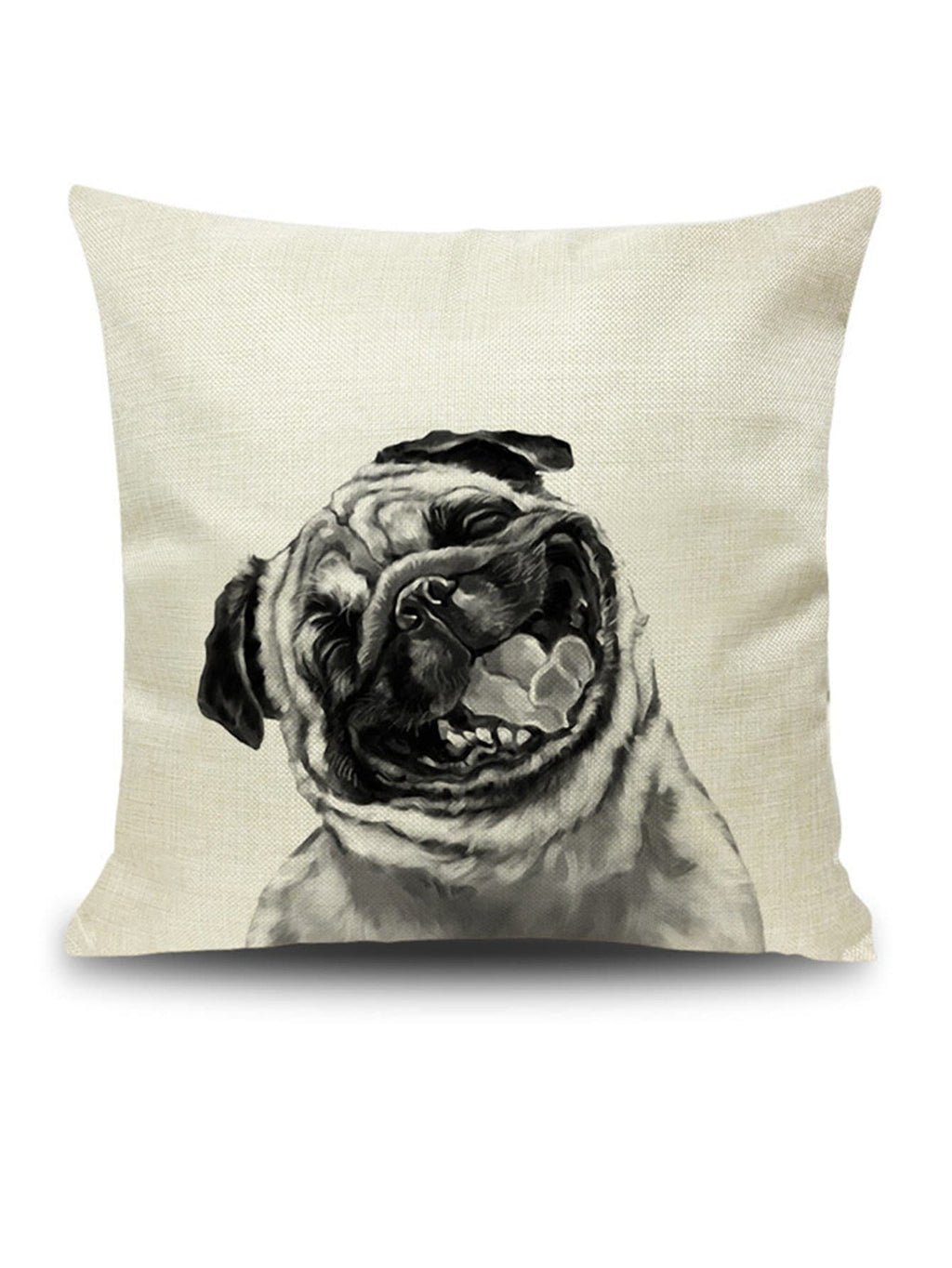 Happy Pug Throw Pillow Cover