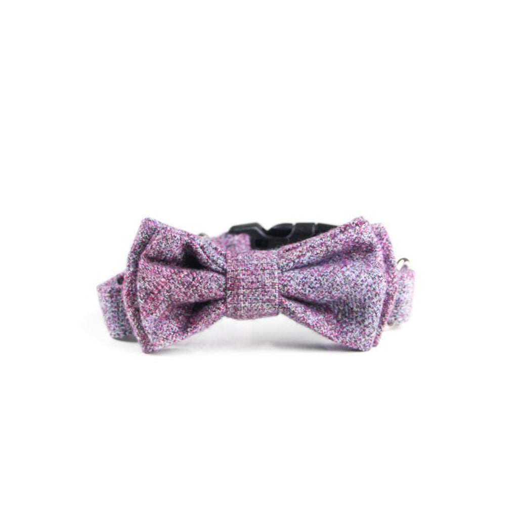 Francis Double Bow Tie Barkholic Premium Wool Viscose Purple Luxury Dog Collar