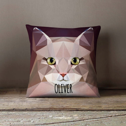Geometric Siberian Cat Pillowcase (Personalize)