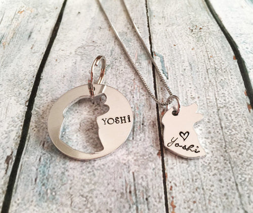 Custom Hand Stamped Dog Tag & Matching Necklace Set