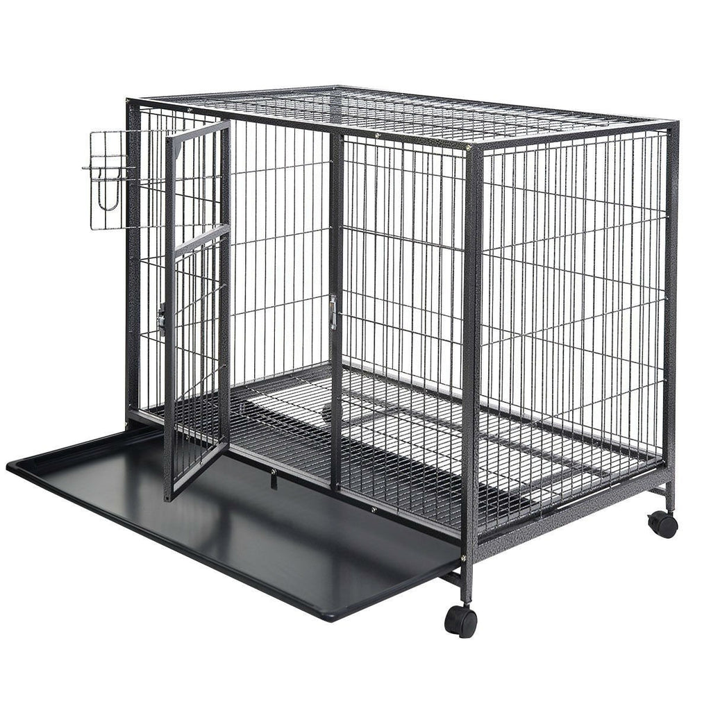 Large 44'' x 29'' Black Non-Toxic Steel Metal Wire Heavy-Duty Tough with Wheels Dog Crate Cage