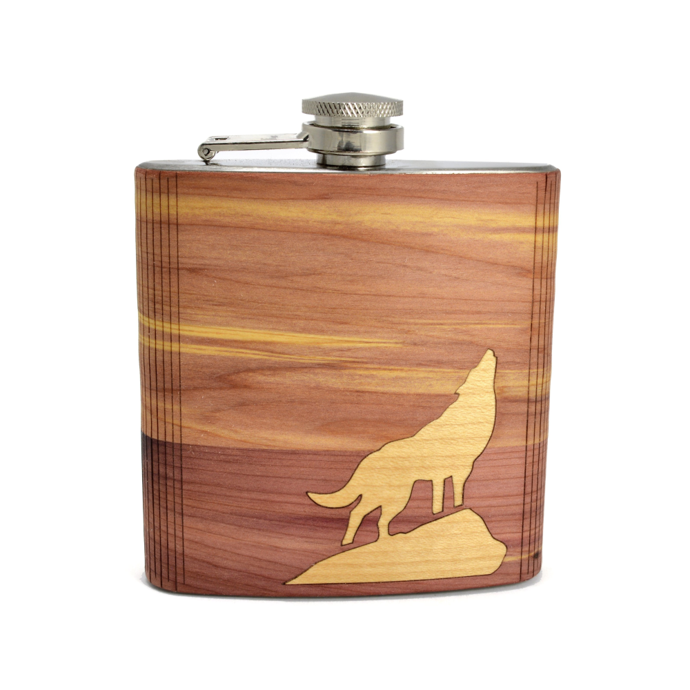 Cedar & Maple Wolf Husky Inspired Hip Flask (Personalize)