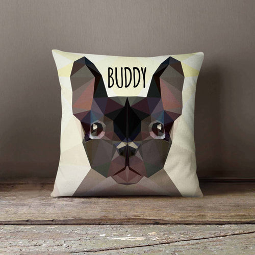 Geometric Bulldog Dog Throw Pillowcase (Personalize)