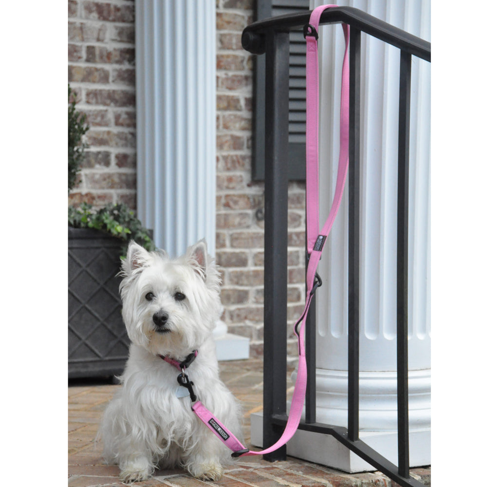 6 Way Pink European Multi-Function Versatile Heavy-Duty Delrin Non-Fray Woven Polyester Dog Leash