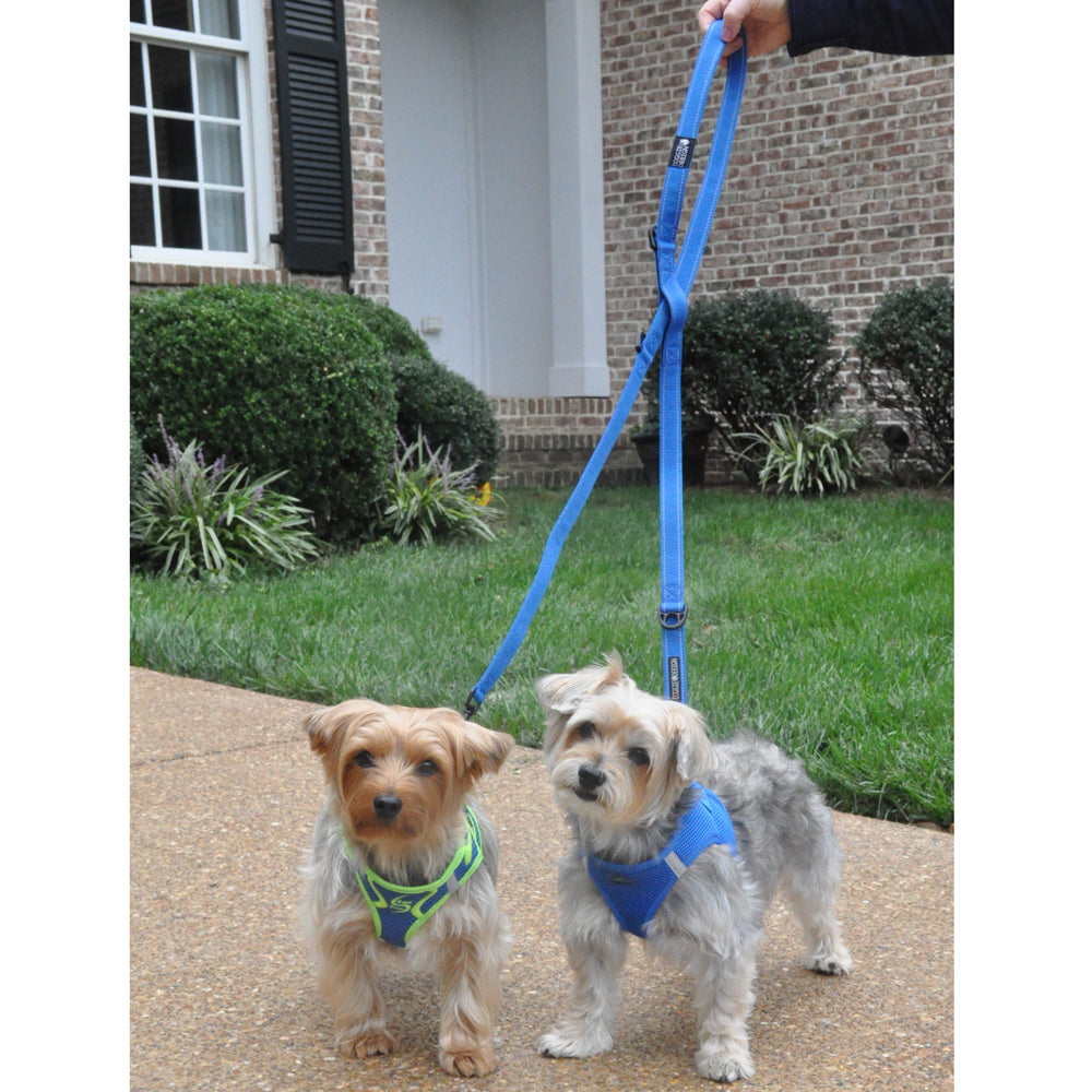 6 Way Red European Multi-Function Versatile Heavy-Duty Delrin Non-Fray Woven Polyester Dog Leash