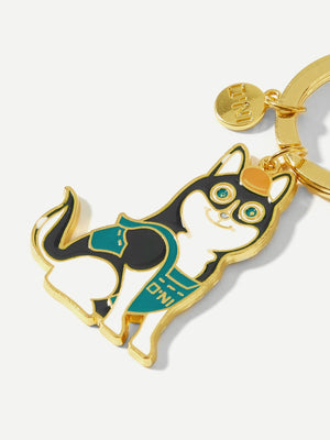 Dog Decorated Ring Keychain