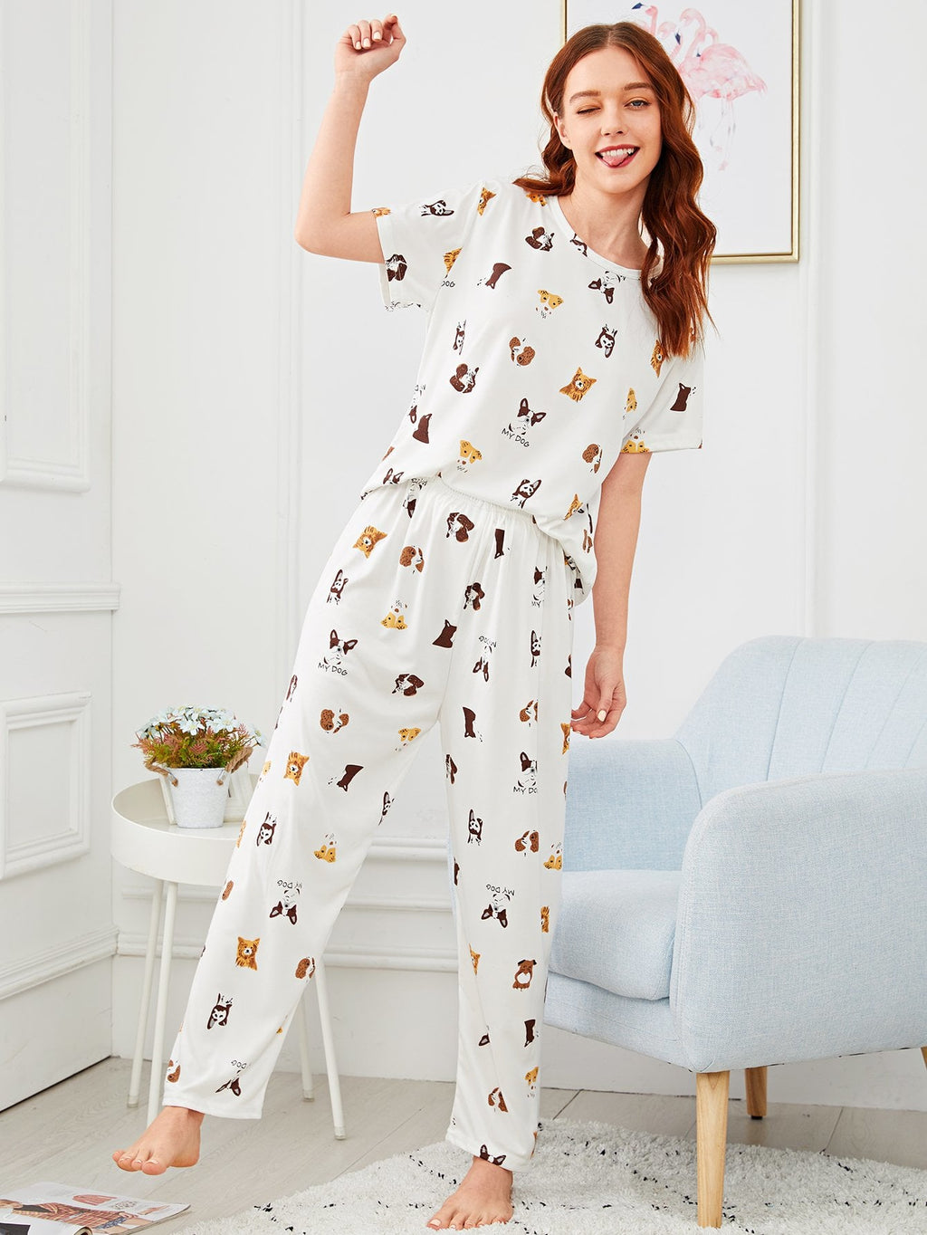 Allover Dog Print SOFT Women's Pajama Set