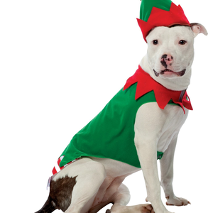 Christmas Elf with Hat Holiday Christmas Inspired Santa's Helper Pet Dog Costume for Large Dogs