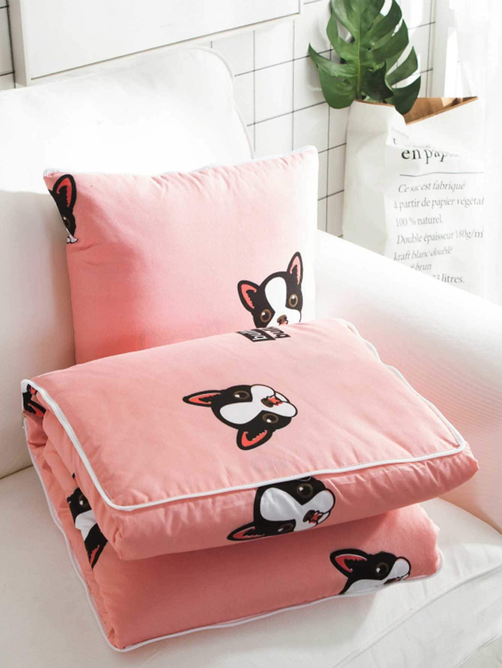 Dog Print 2 in 1 Blanket Cushion & Pillow