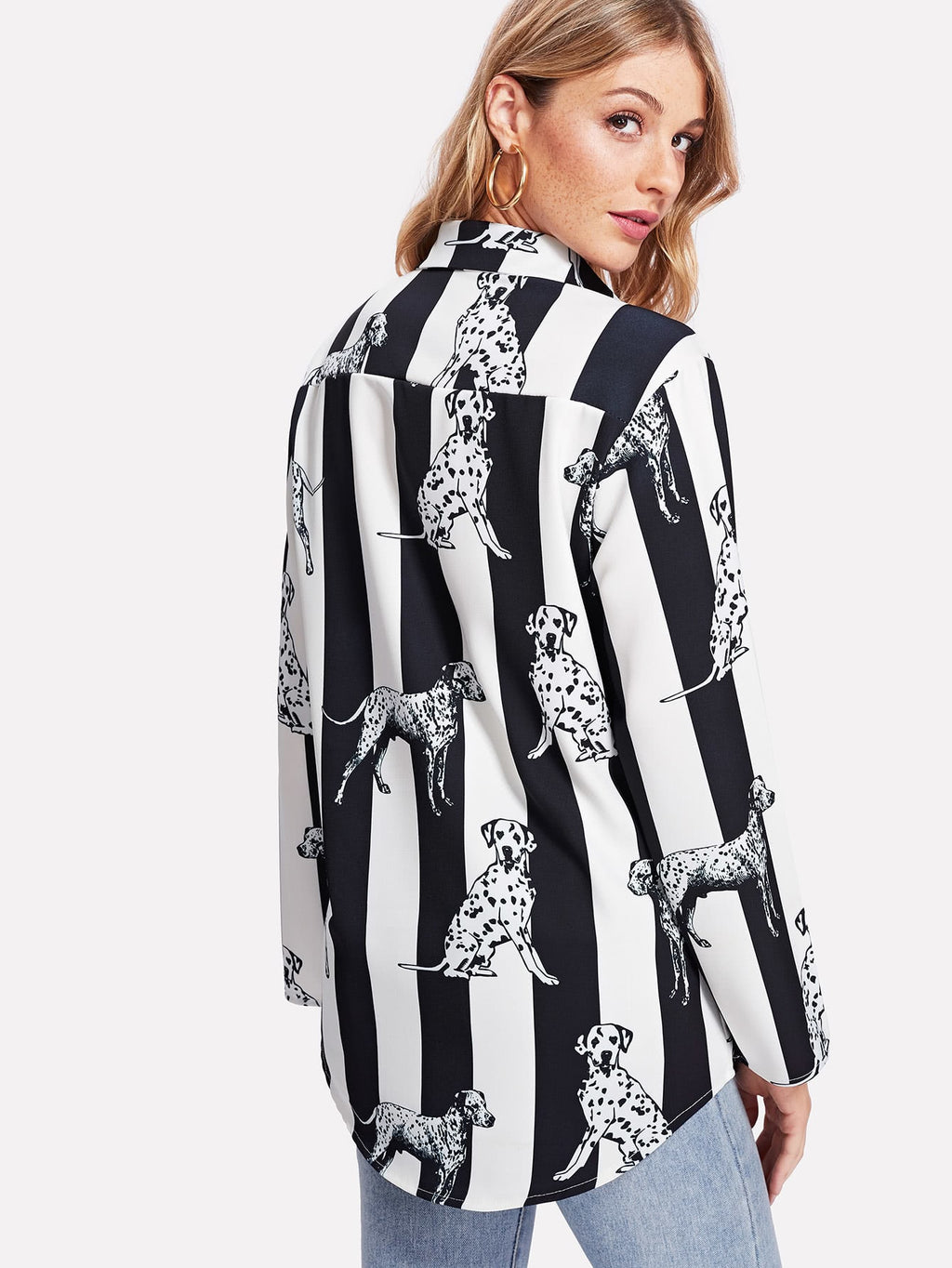 Striped Dalmatian Print Curved Hem Shirt