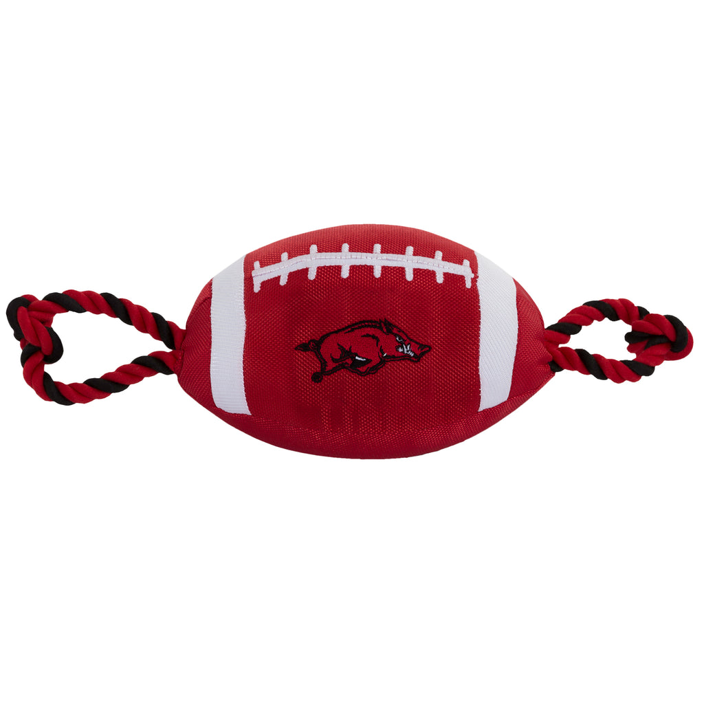 Arkansas Razorbacks Nylon Football Squeaker Tug Rope Dog Toy