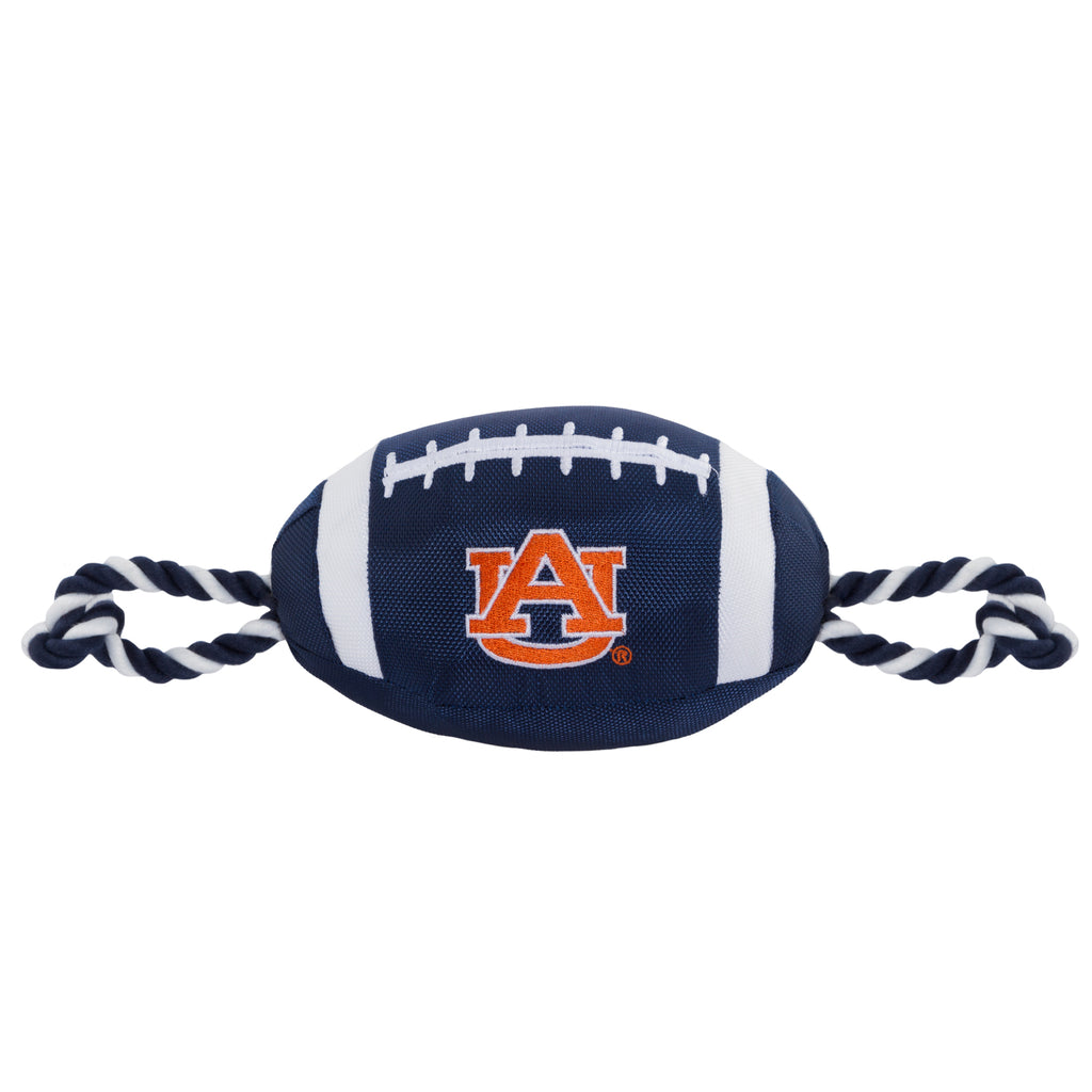 Auburn Nylon Football Squeaker Tug Rope Dog Toy