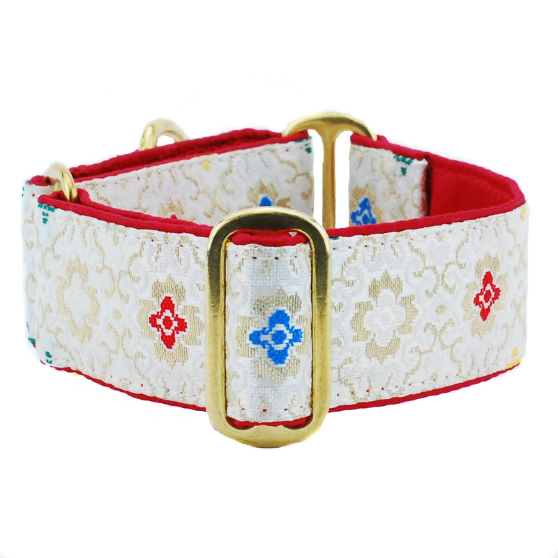 Asian Sketch Red & White Silk Brocade Designer Luxury Handmade Dog Collar