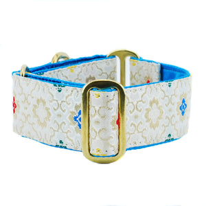 Asian Sketch Teal Silk Brocade Designer Luxury Handmade Dog Collar