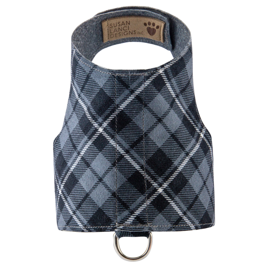 Scotty Bailey Charcoal Plaid UltraSuede Dog Harness