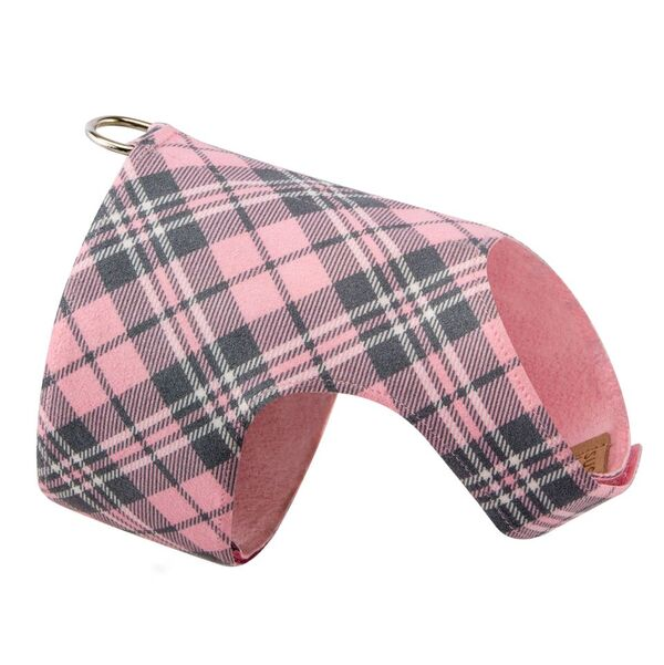 Scotty Bailey Puppy Pink Plaid UltraSuede Dog Harness