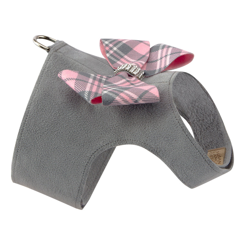 Scotty Bailey Nouveau Bow Pink Plaid UltraSuede Dog Harness