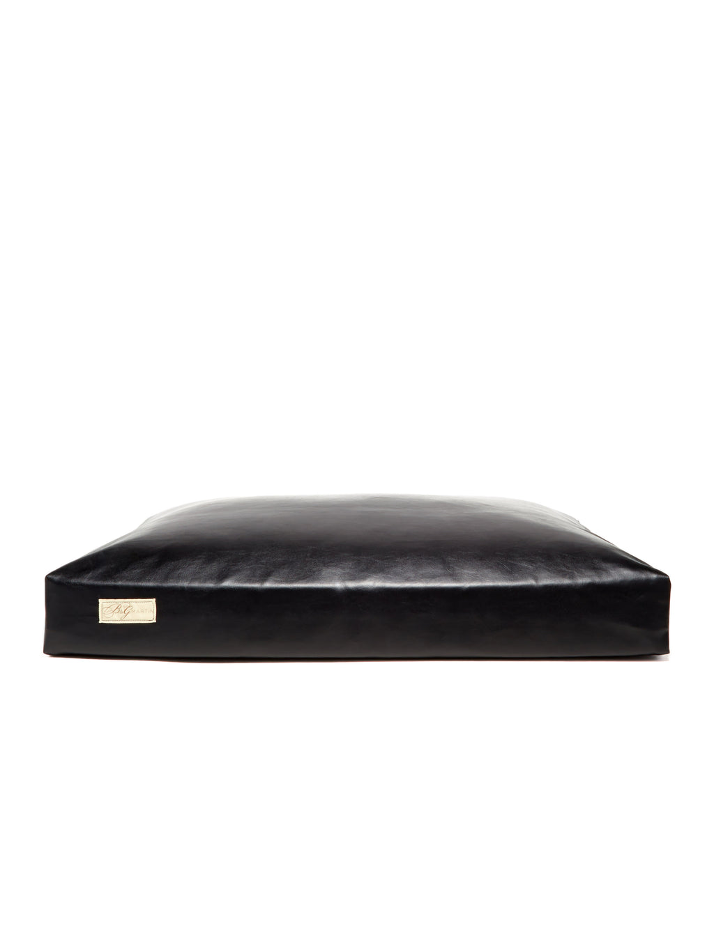 B&G Martin Faux Leather Vegan Black Ultra Luxe Pet Dog Bed (Personalize)