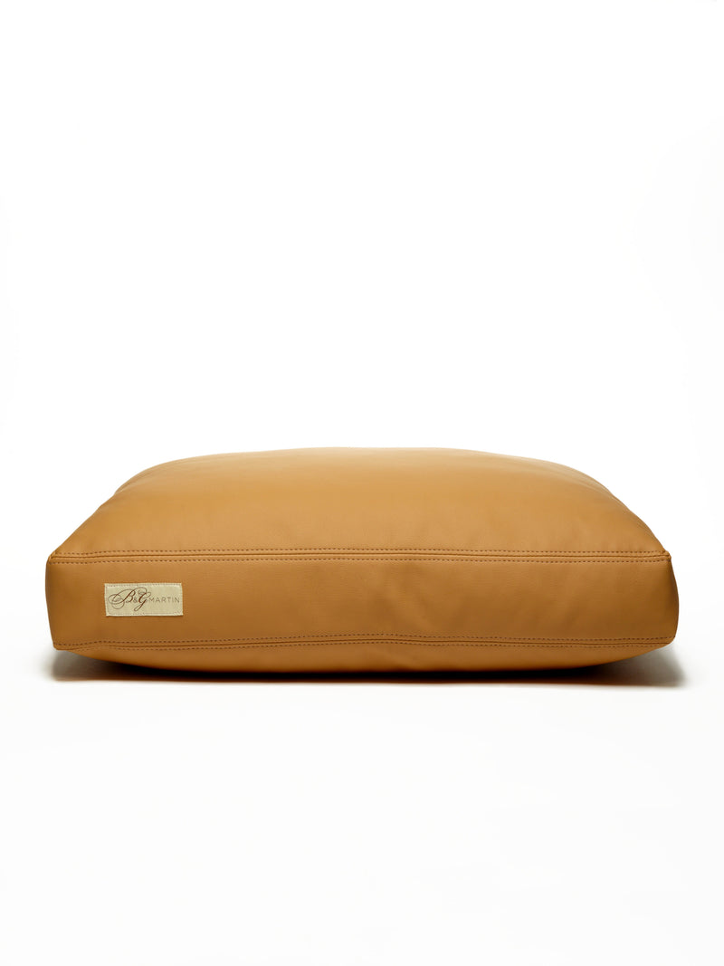 B&G Martin Faux Leather Vegan Caramel Ultra Luxe Water Resistant Pet Dog Bed (Personalize)