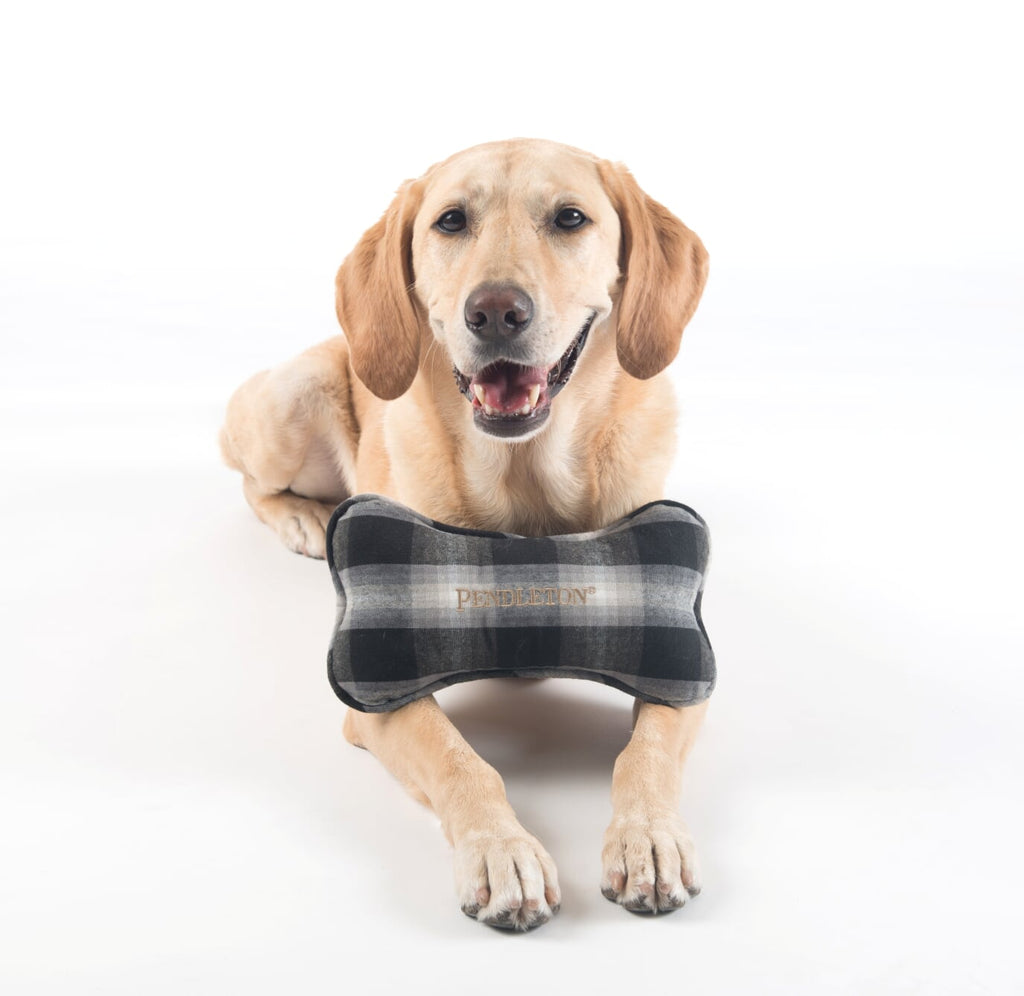 Charcoal Plaid Bone Pet Toy