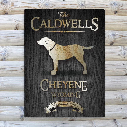 Rustic Cabin Black Wood Canvas Wall Sign - Dog Silhouette (Personalize)