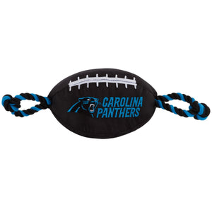 Carolina Panthers Nylon Football Squeaker Tug Rope Dog Toy
