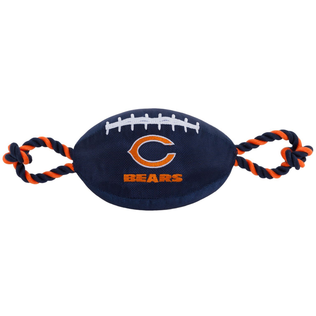 Chicago Bears Nylon Football Squeaker Tug Rope Dog Toy