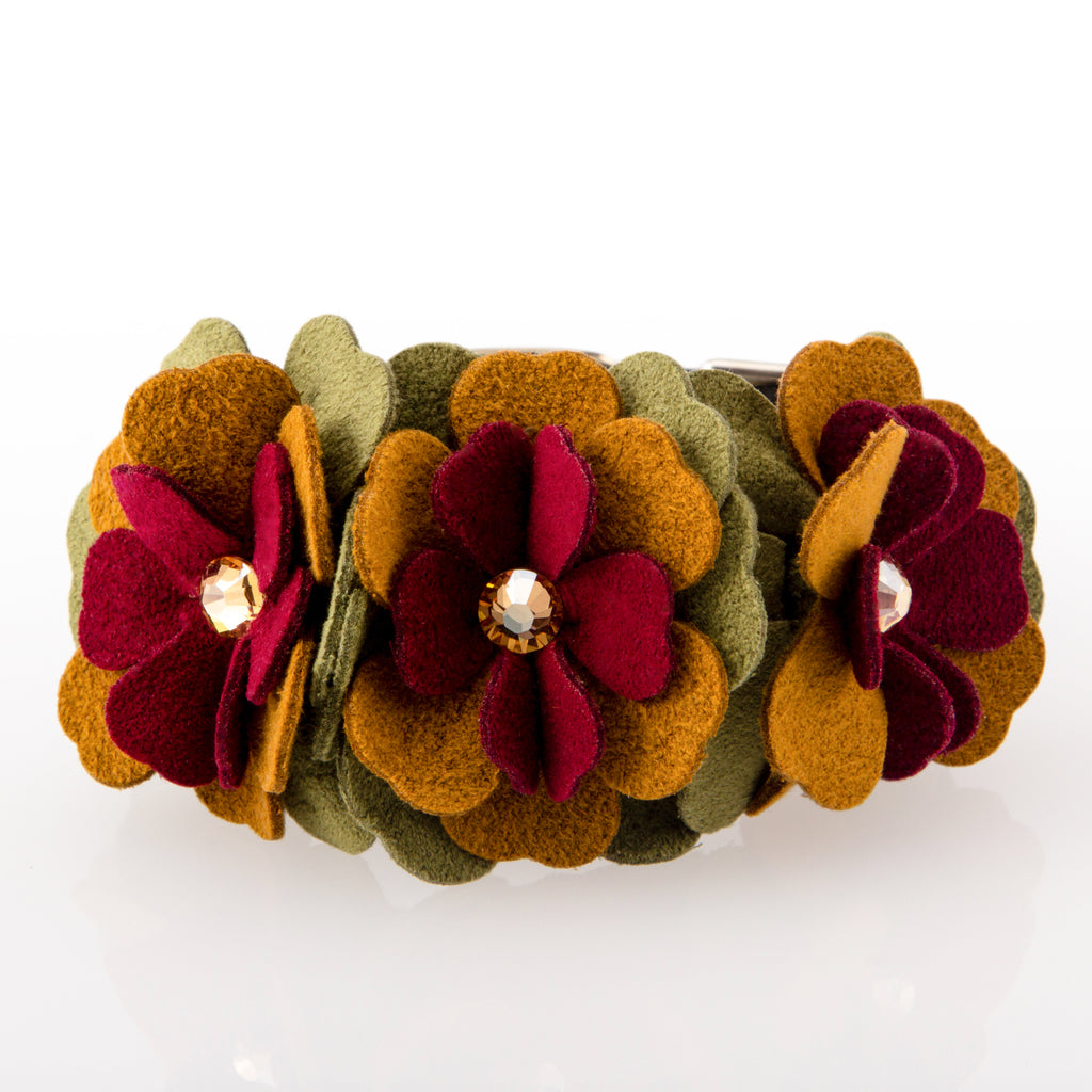 Autumn Fall Flowers with Genuine Swarovski Crystals Soft UltraSuede Designer Fashionable Dog Collar