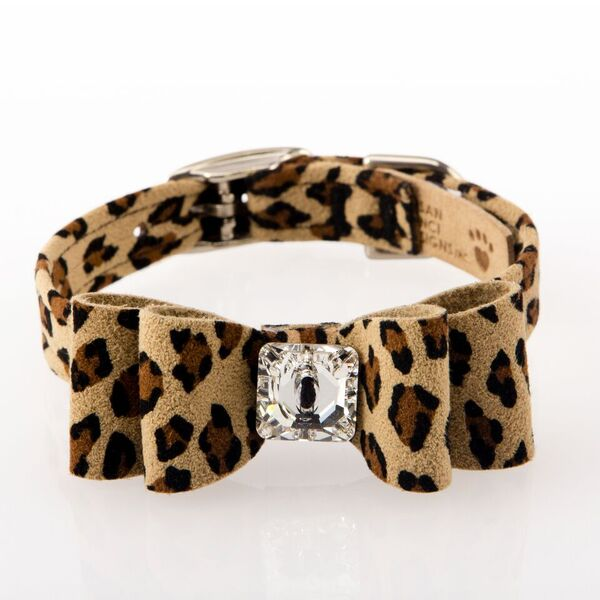 Cheetah Couture Big Bow with Genuine Swarovski Crystal Designer UltraSuede Dog Collar