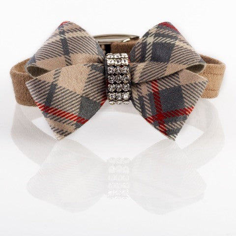 Fawn Scotty Doe Tan Plaid Nouveau Bow with Genuine Swarovski Crystals UltraSuede Dog Collar
