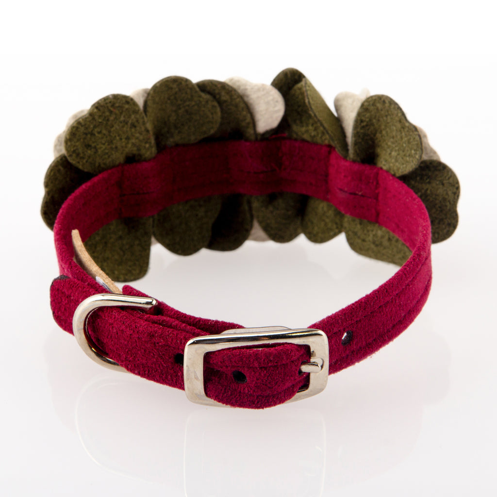 Falling Leaves Burgundy Genuine Swarovski Crystals UltraSuede Designer Dog Collar