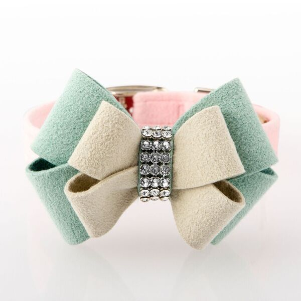Hope Big Bow Puppy Pink with Genuine Swarovski Crystals Soft UltraSuede Designer Luxury Dog Collar