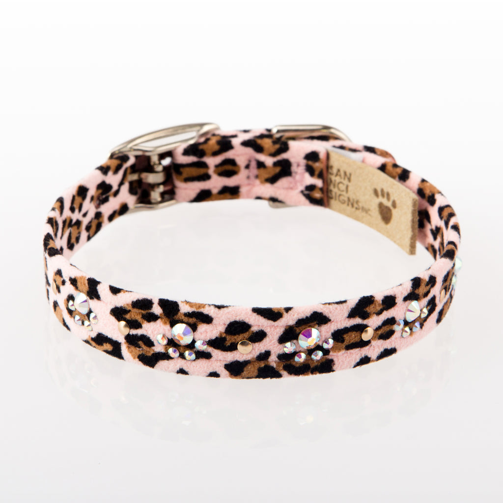 Cheetah Couture Crystal Paws Pink UltraSuede Designer Dog Collar