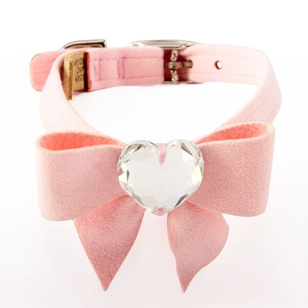 Tail Bow Puppy Pink with Genuine Swarovski Crystal UltraSuede Dog Collar