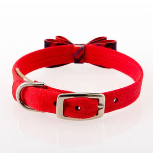 Scotty Chestnut Red Plaid Big Bow Genuine Swarovski Crystal Luxury UltraSuede Cat & Dog Collar