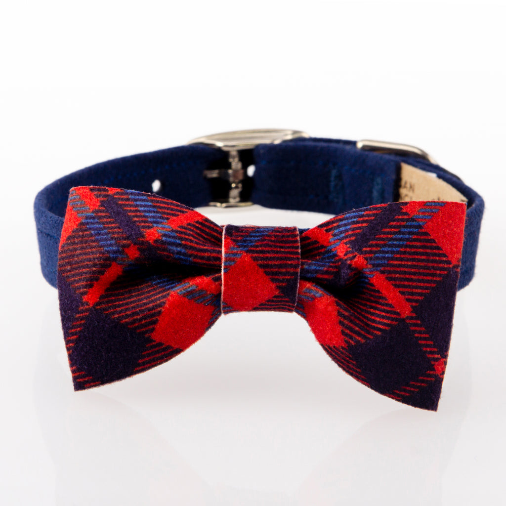 Scotty Chestnut Red & Indigo Blue Plaid Bow Designer Luxury UltraSuede Dog Collar
