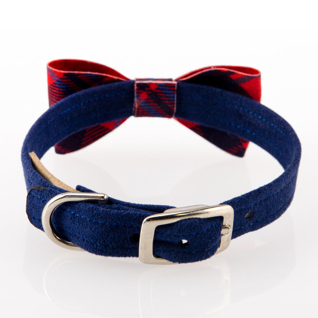 Scotty Chestnut Plaid UltraSuede Dog Collar