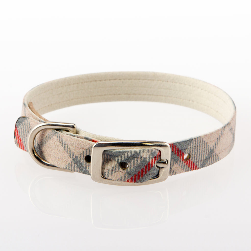 Scotty Doe Plain Plaid Comfy & Soft Highest-Grade UltraSuede Premium Designer Beige Dog Collar