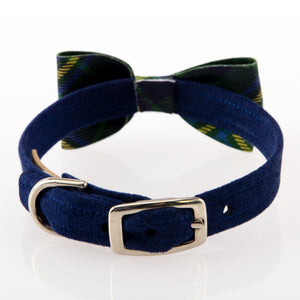 Scotty Forrest Green Plaid Bow Designer Luxury UltraSuede Dog Collar